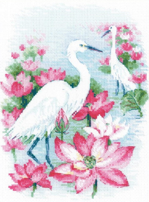 Lotus Field - Herons Cross Stitch Kit By RIOLIS