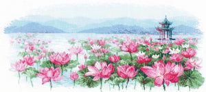 Lotus Field - Pagoda Cross Stitch Kit By RIOLIS