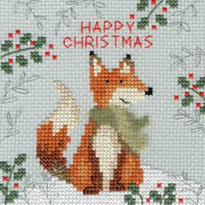 Christmas Fox Cross Stitch Christmas Card Kit by Bothy Threads