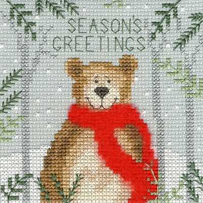 Christmas Bear Cross Stitch Christmas Card Kit by Bothy Threads