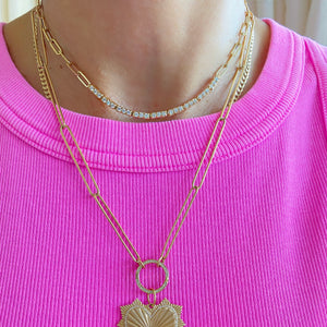 14KT Gold Diamond Tennis Necklace on Chain, Best Seller!