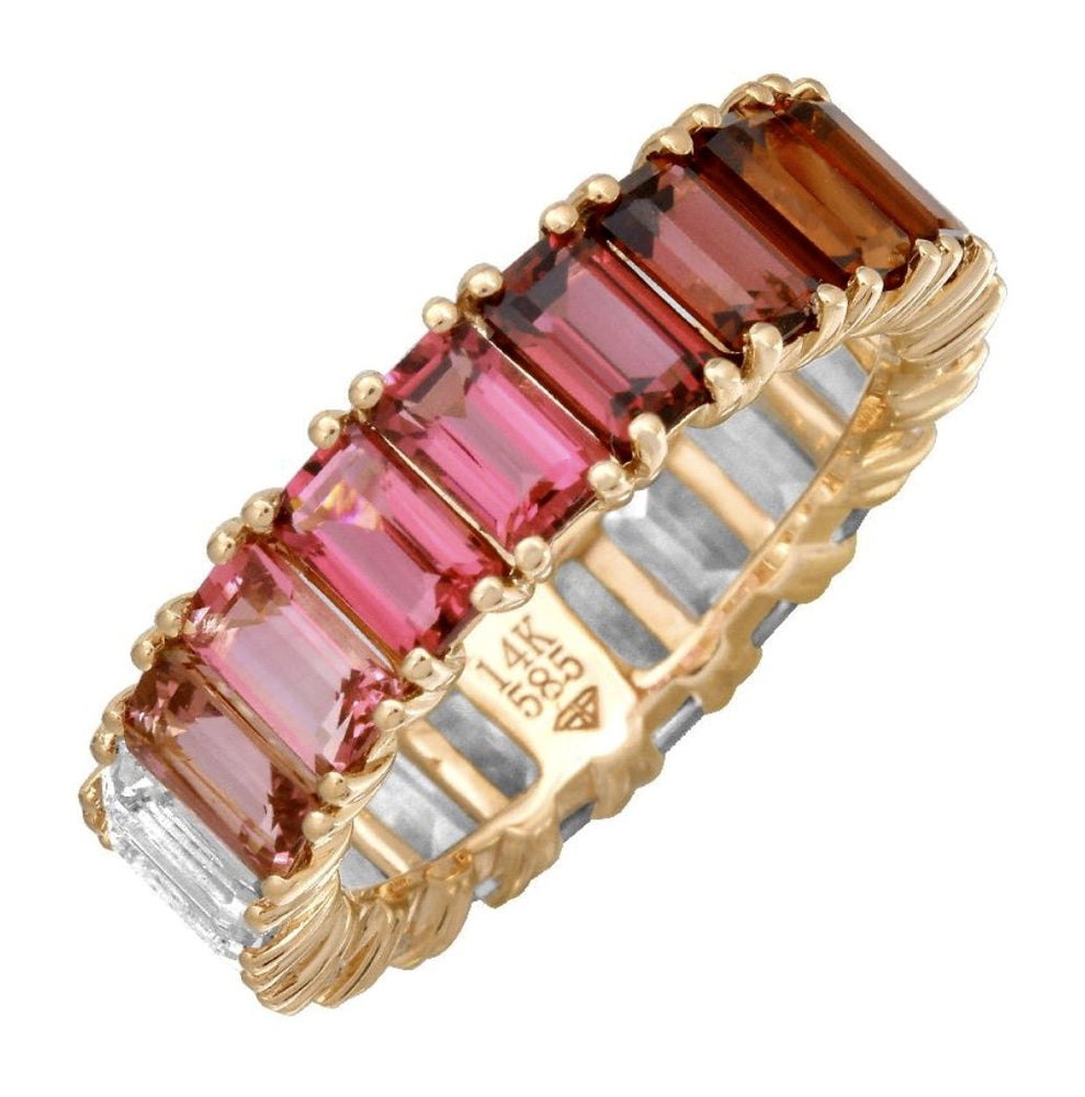 14KT Gold Pink Red Ombré Ring