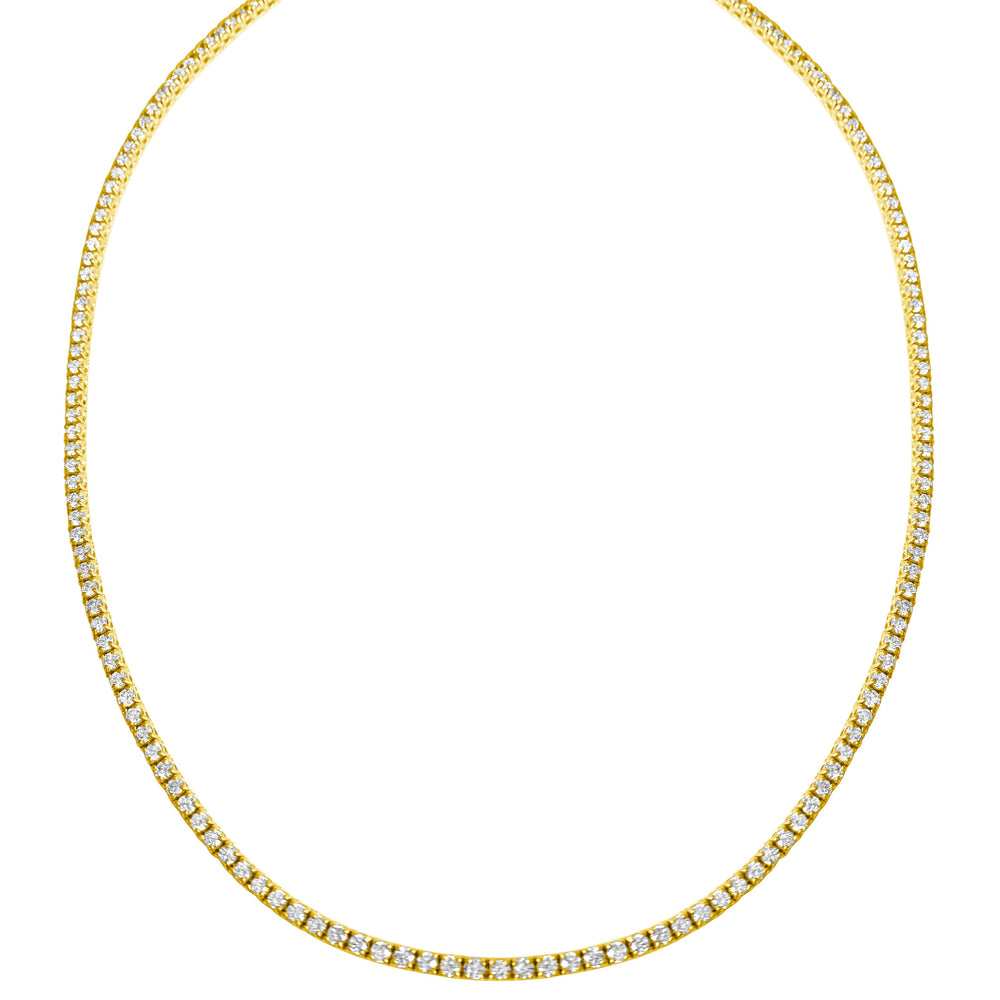 14KT Gold 5.30ct Diamond Perfect Tennis Necklace, NEW