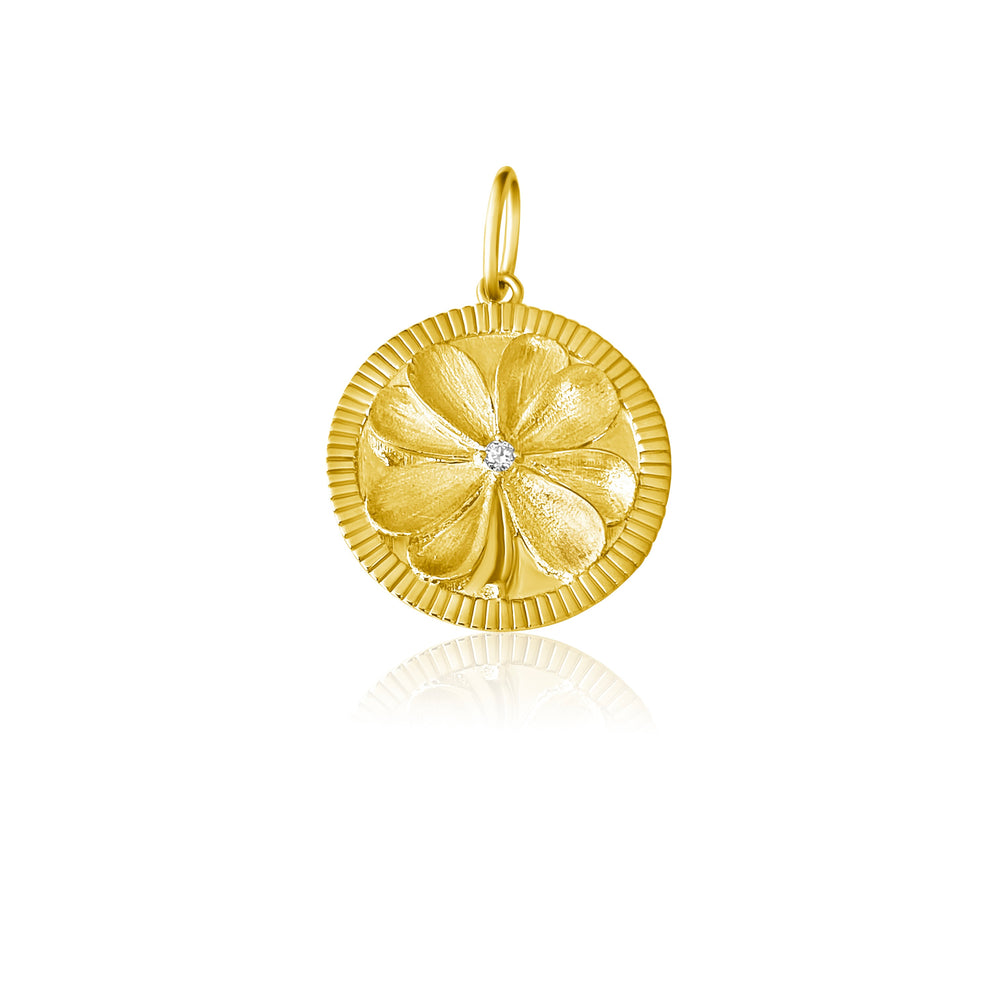14KT Gold Diamond Clover Disk Charm Pendant, NEW