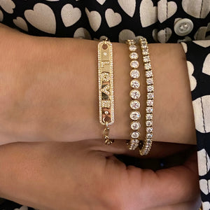 Load image into Gallery viewer, 14KT Gold Diamond Luxe Jumbo Slider Tennis Bracelet, NEW