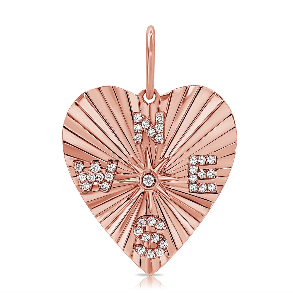 Load image into Gallery viewer, 14KT Gold Diamond Compass Heart Pendant Charm, NEW