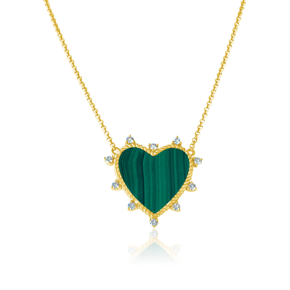 14KT Gold Diamond Malachite Heart Necklace, NEW