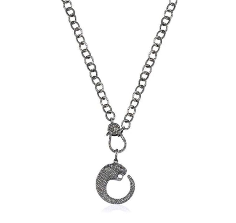Black Rhodium Diamond Large Jaguar Necklace, NEW