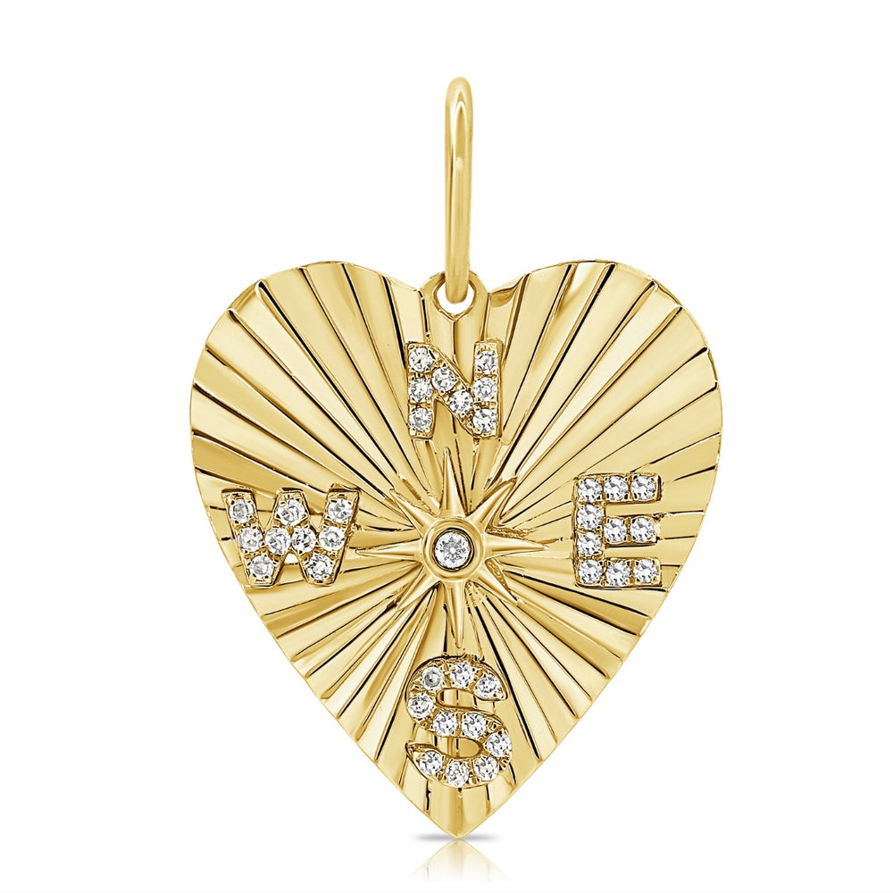 14KT Gold Diamond Compass Heart Pendant Charm, NEW