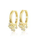 14KT Gold Dangling Diamond Small Hoop Huggie Earrings, NEW