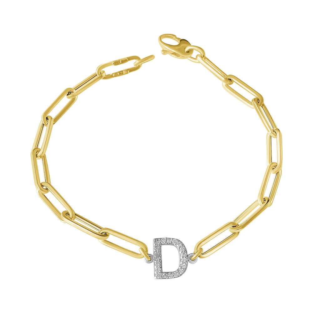 14KT Gold Diamond Initial Link Bracelet, NEW