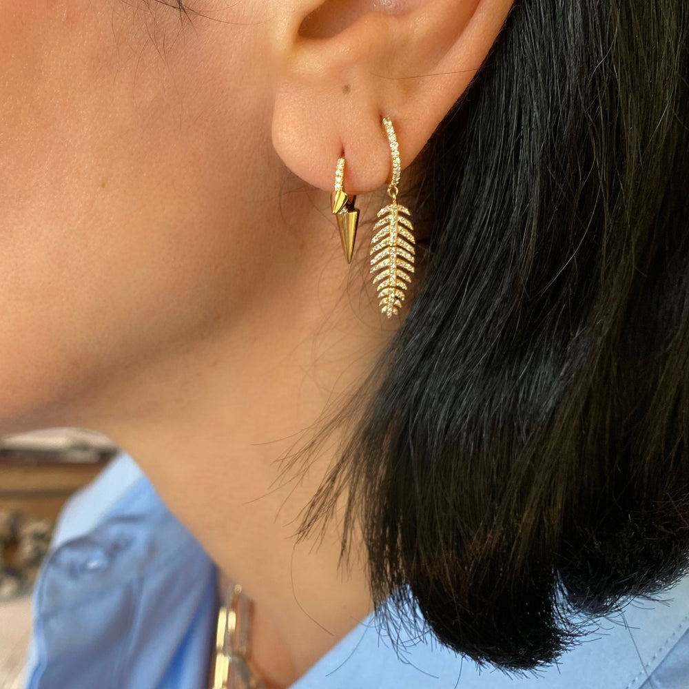 14KT Gold Diamond Leaf Earrings, New