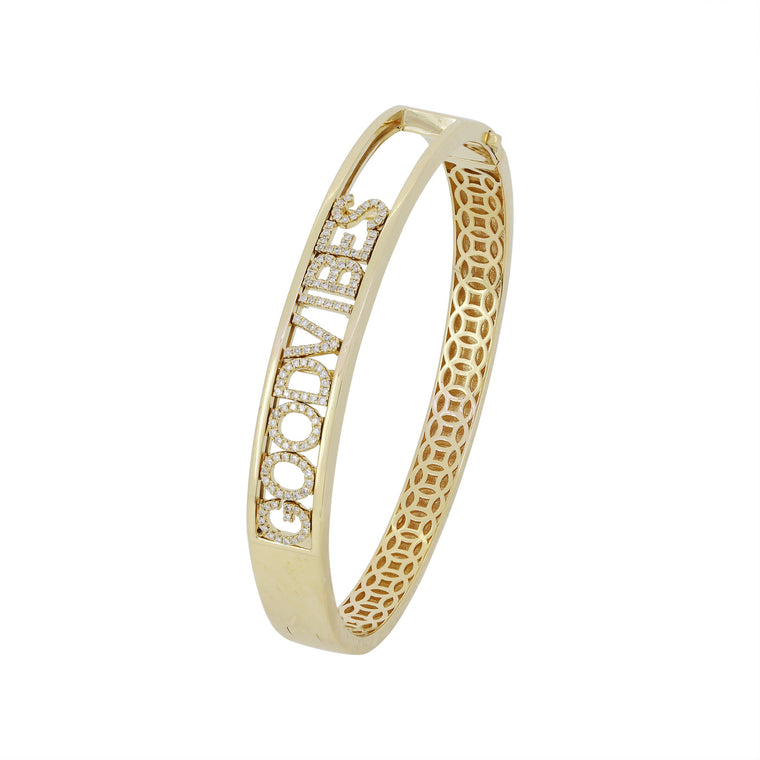 14KT Gold Diamond GOOD VIBES Bangle Bracelet