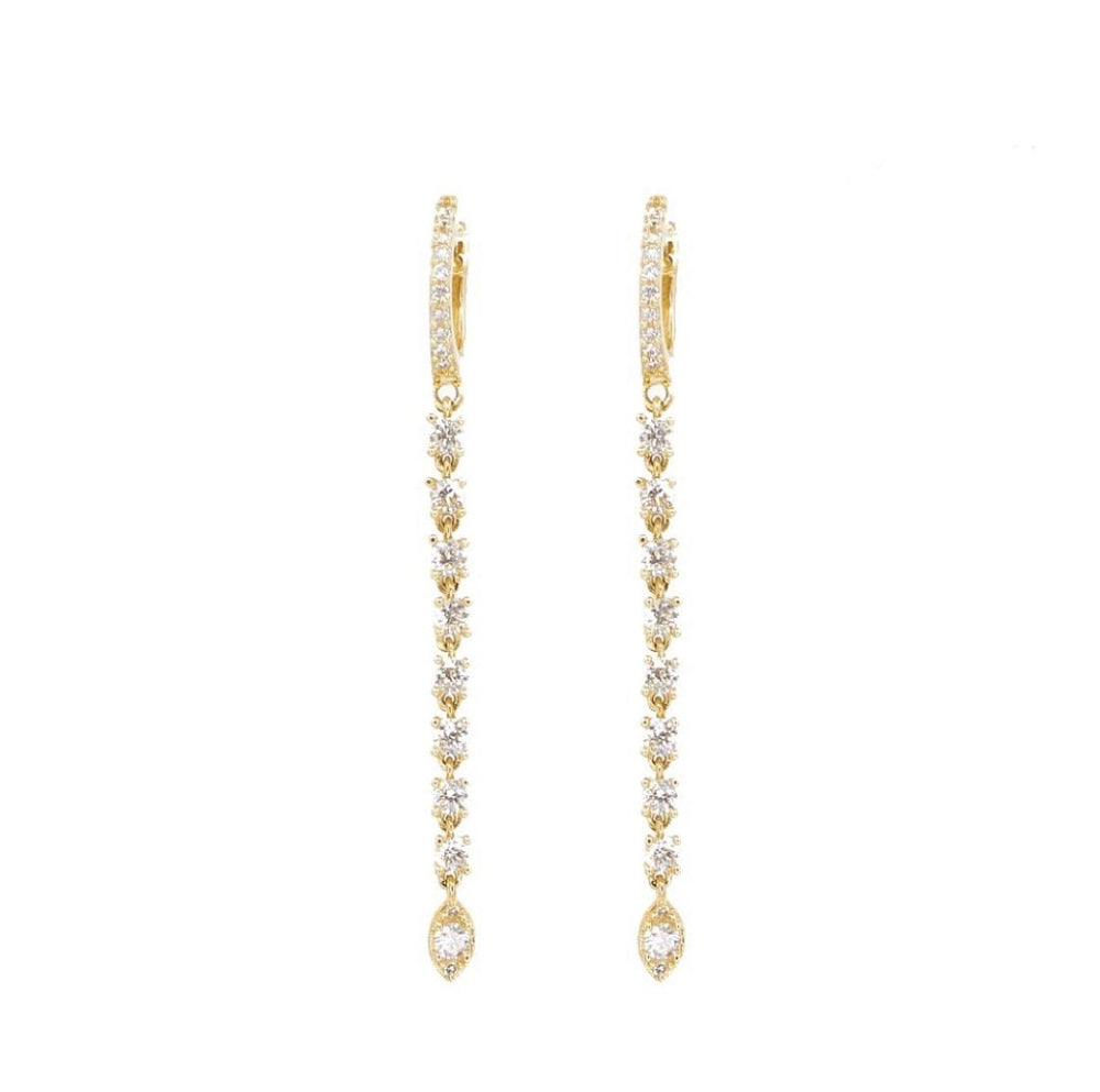 14KT Gold Diamond Drop Huggie Earrings