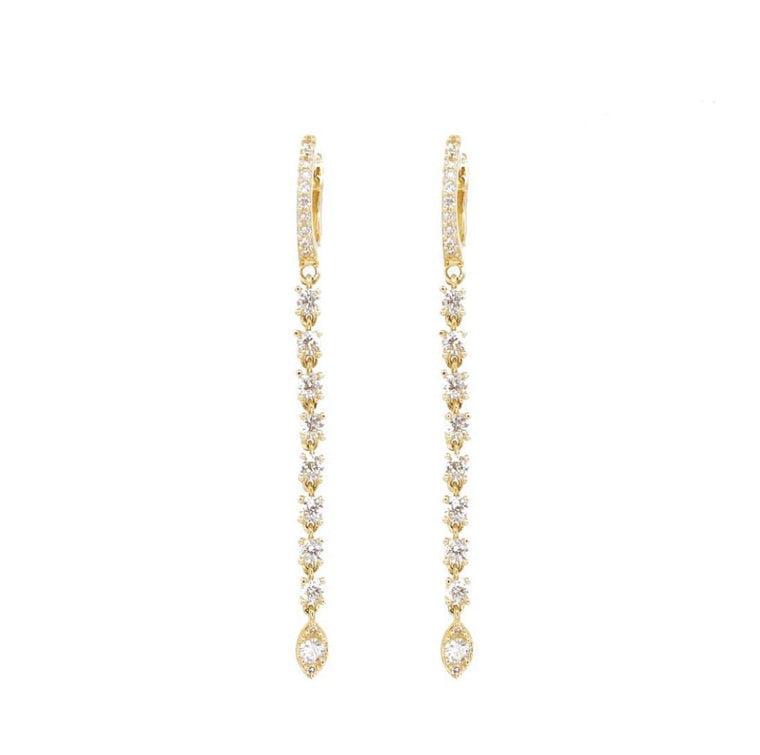 14KT Gold Diamond Drop Earrings, New