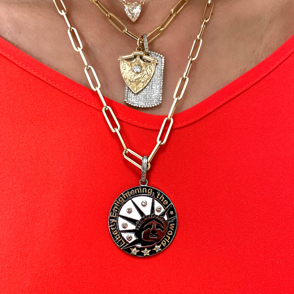 Load image into Gallery viewer, Black Rhodium, Diamond LIBERTY Charm/Pendant, 100% of Profits will be donated!