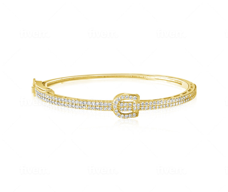 14KT Gold Diamond Buckle Bangle Bracelet, NEW