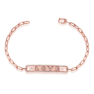 14KT Gold Diamond LOVE Plate Bracelet, NEW