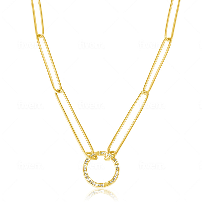 14KT Gold Long Link Chain with Diamond Openable Link, NEW