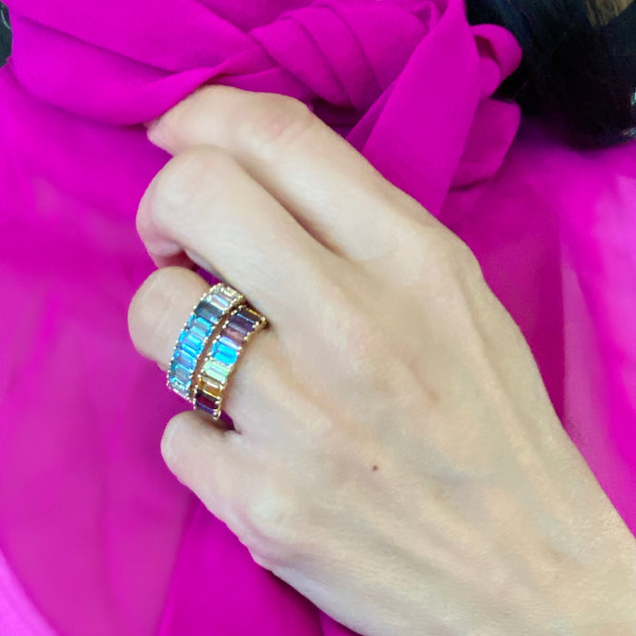 14KT Gold Blue Ombré Ring, BEST SELLER, Yellow Gold, 6.5 in Stock