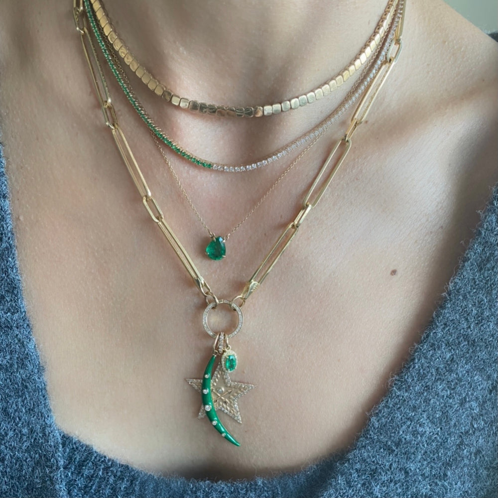 14KT Gold Diamond and Emerald Tennis Necklace, NEW