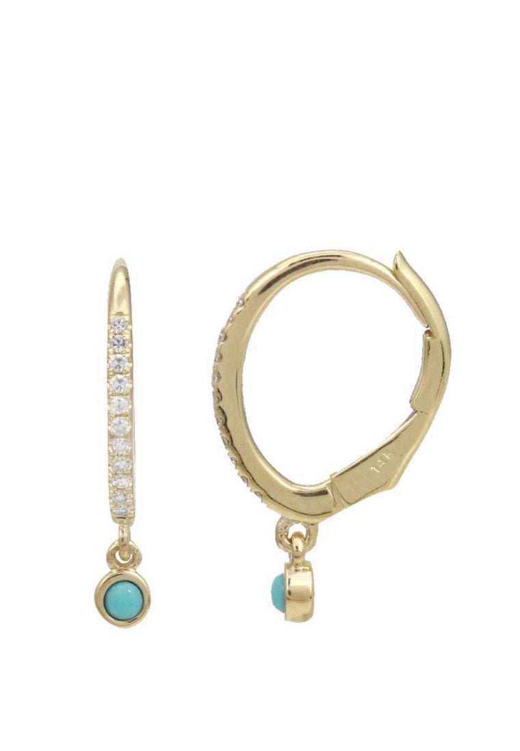 14KT Gold Diamond Turquoise Drop Huggie Earrings, In Stock