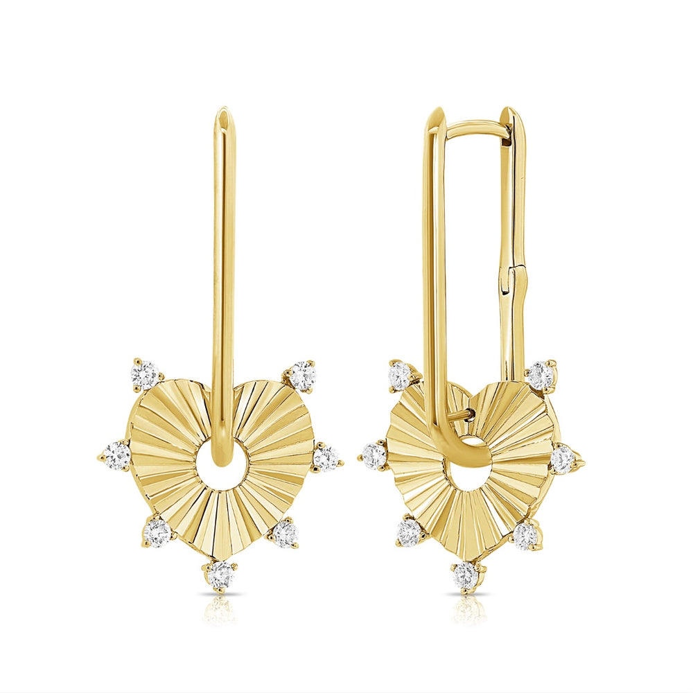 14KT Gold Diamond Elena Heart  Earrings, NEW