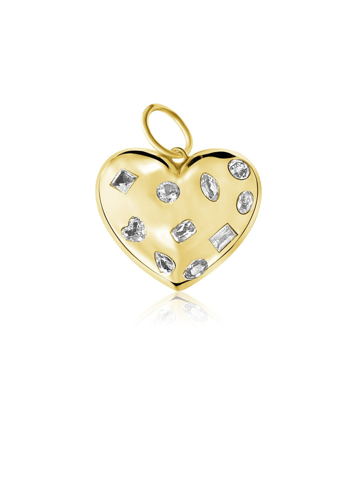 14KT Gold Diamond Puffy Heart Pendant Charm, NEW