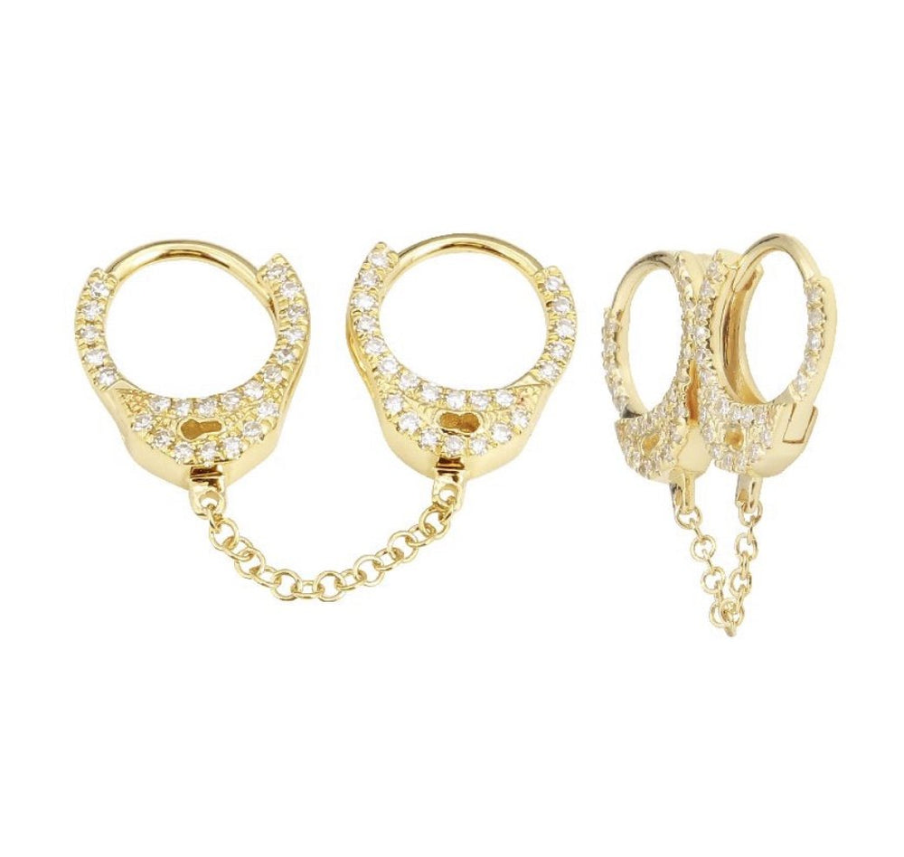 14KT Gold Diamond Handcuff Double Earrings Short, New