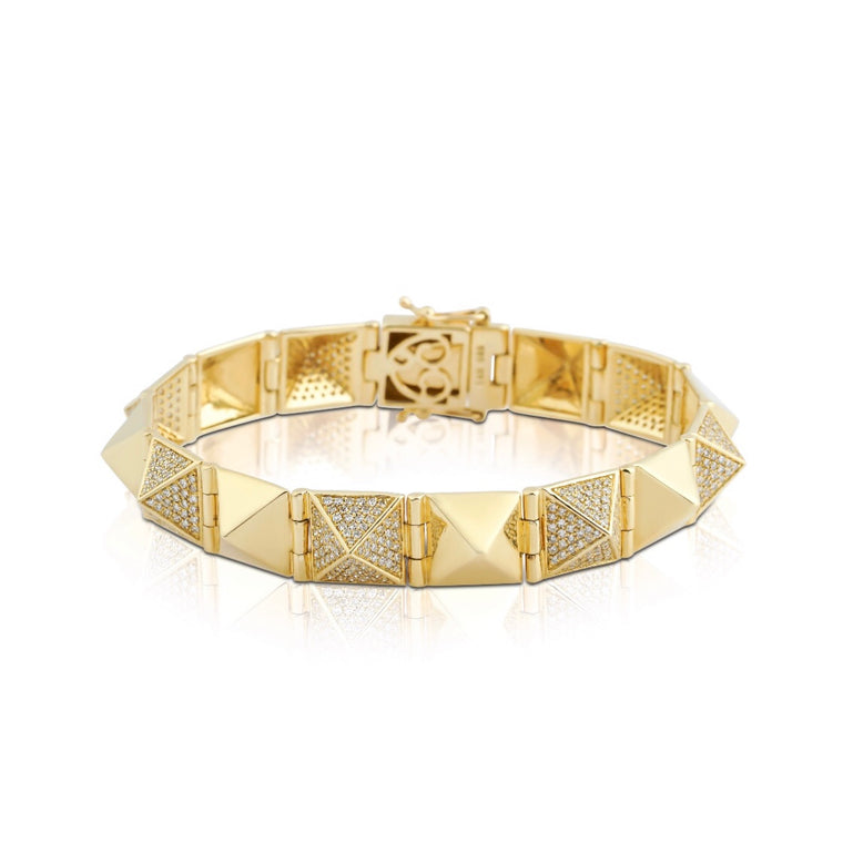 14KT Gold Diamond Sublime Spike Bangle Bracelet, NEW
