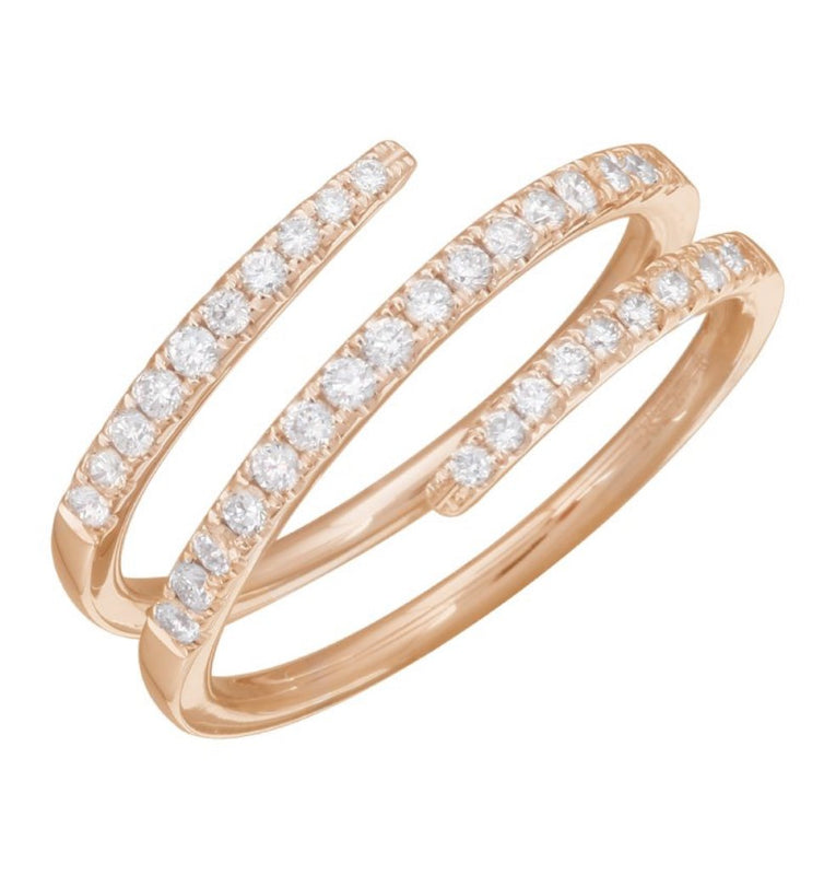 14KT Gold Diamond Coil Pinky Ring, Yellow Gold, size 3.5 in stock