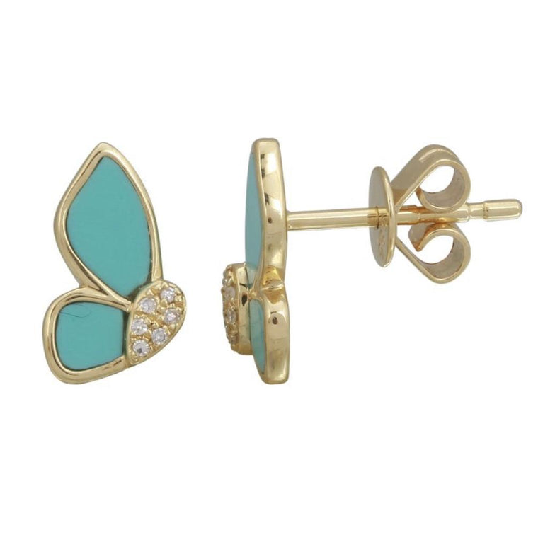 14KT Gold Diamond Turquoise Butterly Earrings, New