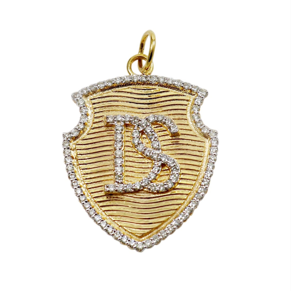 14KT Gold Diamond Custom Initial Shield Pendant Charm, Best Seller!