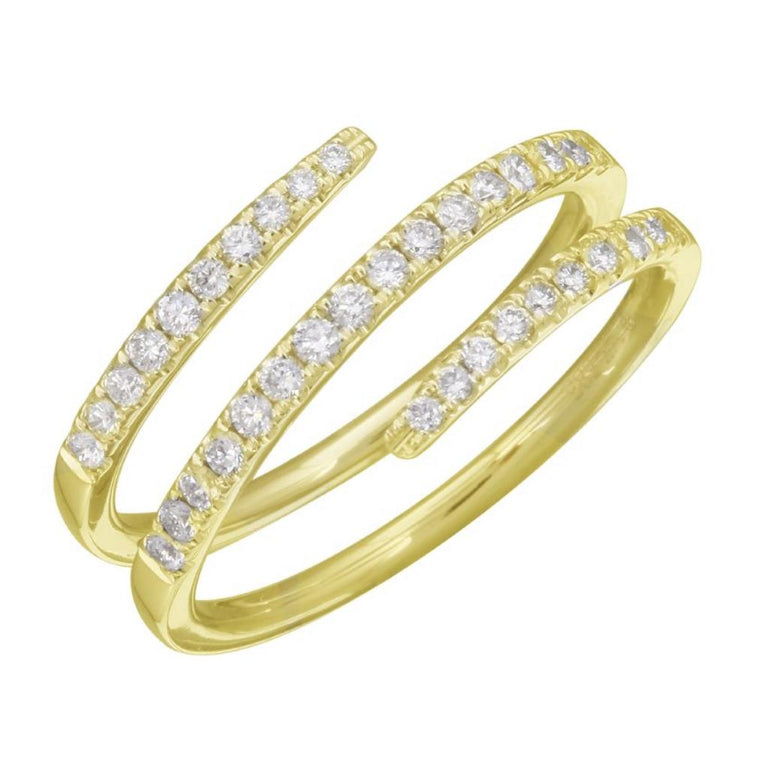 14KT Gold Diamond Coil Pinky Ring, NEW