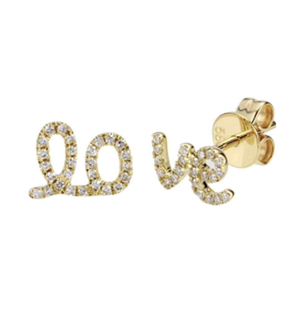 14KT Gold Diamond Script LO VE Stud Earrings, NEW