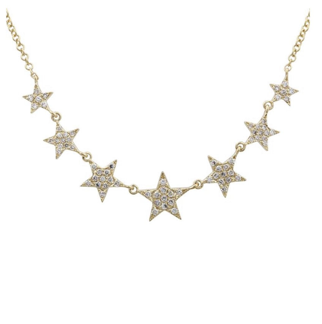 14KT Gold, Diamond Star Necklace - DilaraSaatci