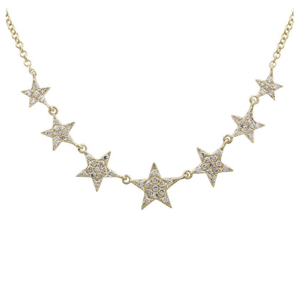 Load image into Gallery viewer, 14KT Gold, Diamond Star Necklace - DilaraSaatci