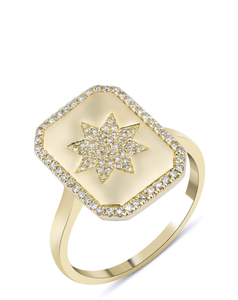 14KT Gold Diamond Star Charmed Ring