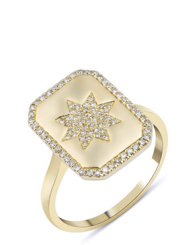 14KT Gold Diamond Star Charmed Ring, size 7 in Yellow Gold in Stock