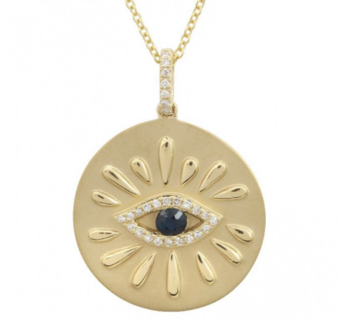 14KT Gold Diamond Evil Eye Coin Necklace, NEW