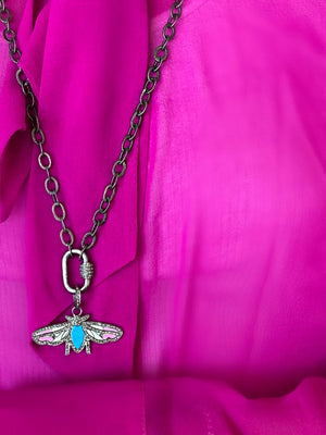 Load image into Gallery viewer, Black Rhodium Diamond Butterfly Necklace