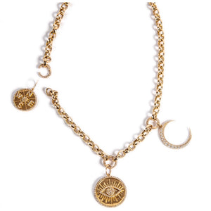 14KT Gold Diamond, Three Ring Corienne Chain Necklace, NEW