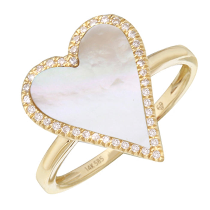 14KT Gold Diamond Mother of Pearl Heart Ring, New