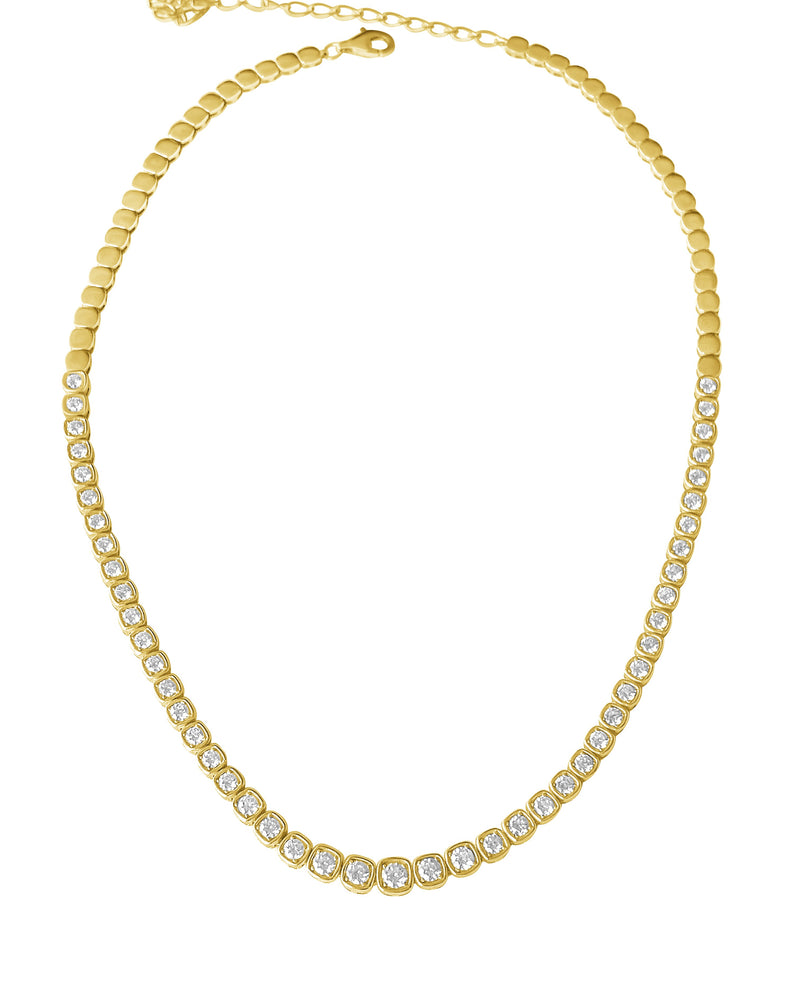 14KT Gold Diamond Square Bezel Set Tennis Necklace, NEW