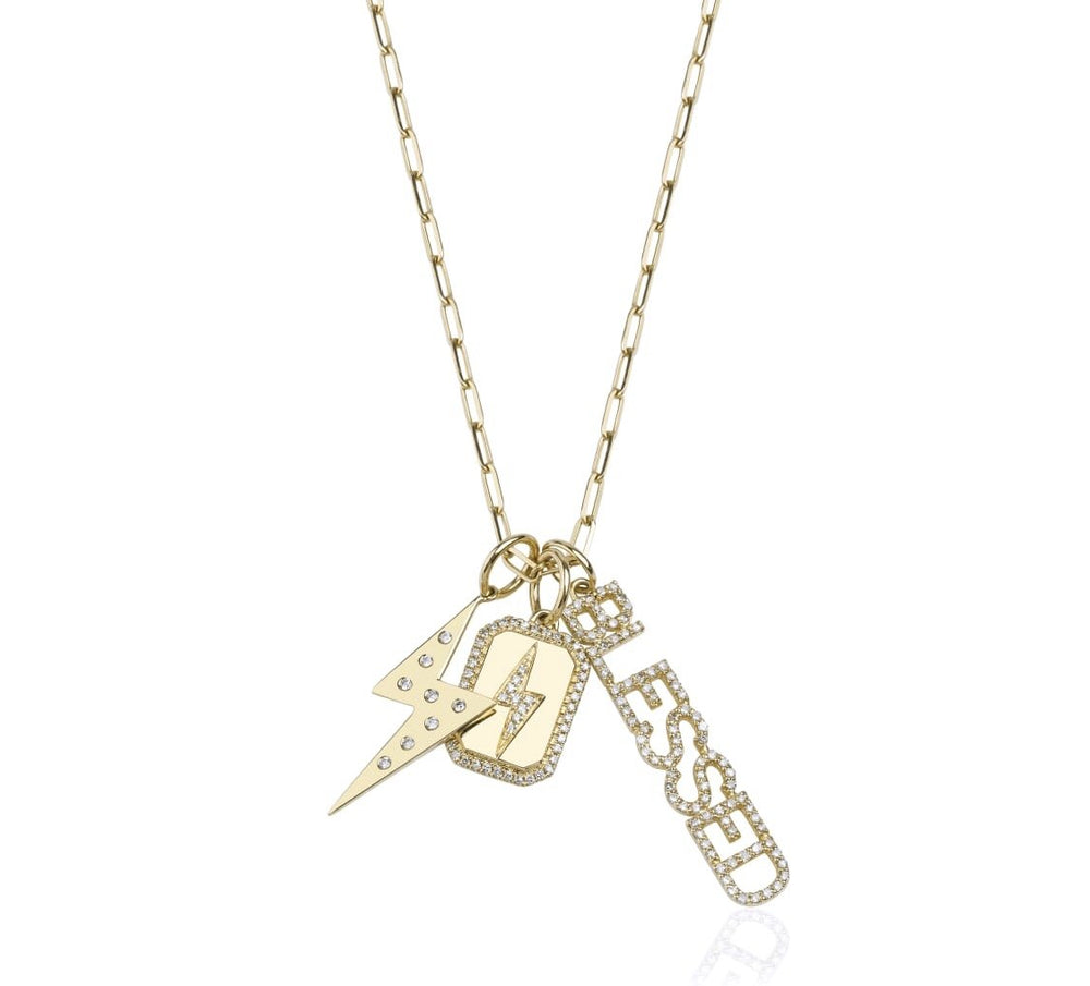 14KT Gold, Diamond Lightning bolt Dog tag Charm / Pendant
