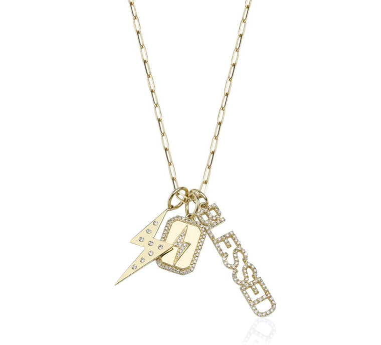 14KT Gold, Diamond Lightning bolt Dog tag Charm / Pendant, NEW