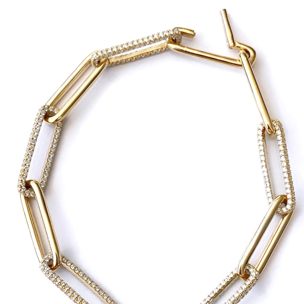 14KT Gold Diamond LUXE Link Chain Bracelet, New