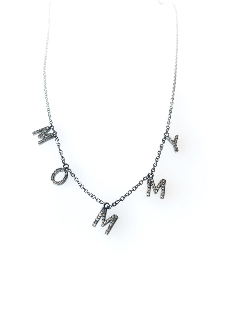 Load image into Gallery viewer, Black Rhodium Diamond Drop MOMMY Necklace