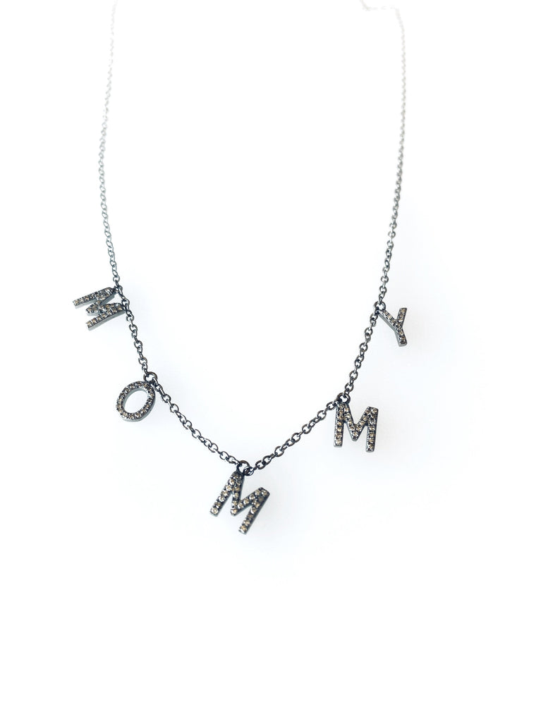 Black Rhodium Diamond Drop MOMMY Necklace