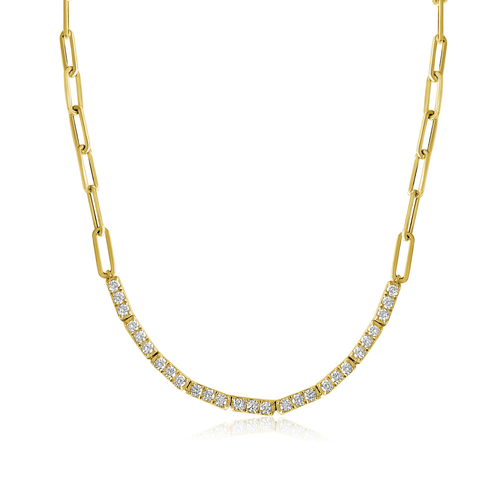14KT Gold Diamond Tennis Necklace on Chain, NEW